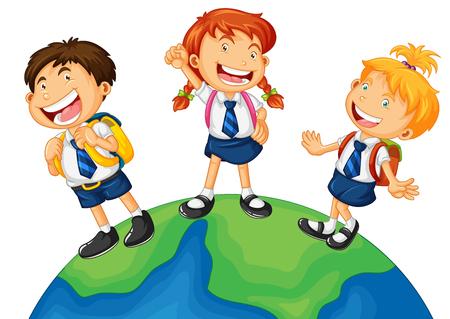 �uniform: Tres ni�os en uniforme escolar de pie sobre la tierra ilustraci�n Vectores
