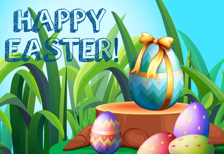 outdoor event: Happy Easter with decorated eggs in the garden illustration Illustration