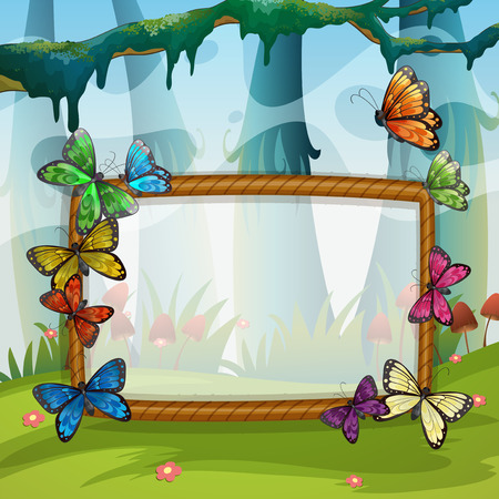 drawing board: Frame design with butterflies in garden illustration