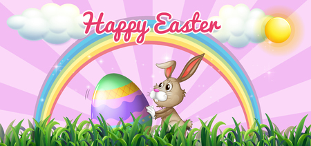 festive occasions: Happy Easter with bunny and egg on the field illustration
