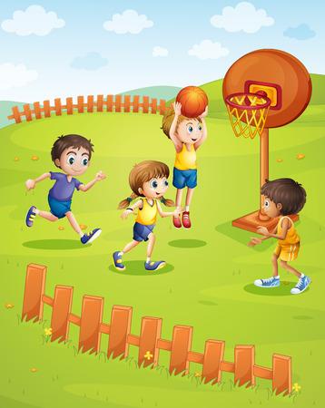 公園のイラストでバスケット ボールを遊んでいる子供たち