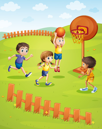 drawing cartoon: Children playing basketball in the park illustration