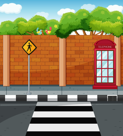 pavement: Scene with crossing on the street illustration