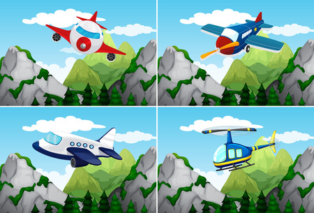 hovercraft: Planes and helicopter flying over the mountains illustration