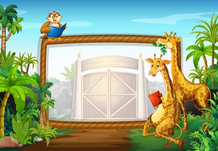 giraffe frame: Frame design with giraffe and owl illustration Illustration