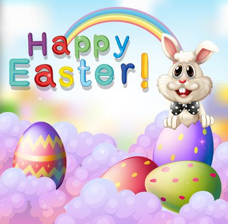 background picture: Easter bunny and decorated eggs illustration Illustration