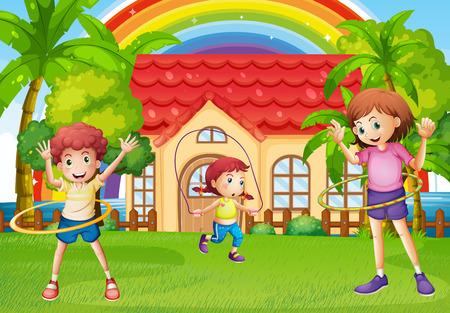 hulahoop: Children exercising in front of the house illustration Illustration