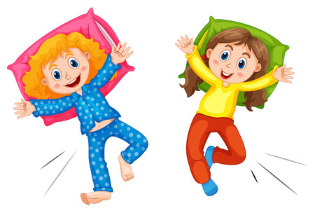 slumber: Two girls in pyjams at slumber party illustration