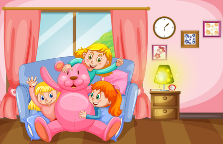 pink teddy bear: Three girls and pink teddy bear in living room illustration Illustration