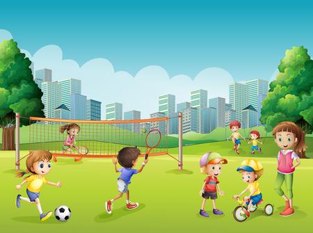 公園の図にスポーツを遊んでいる子供たち