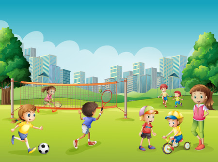 city park: Children playing sports in the park illustration