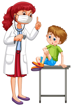 Doctor examining little boy illustration Illustration