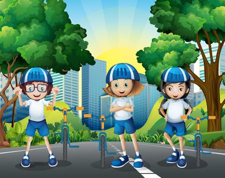 Tre bambini di guida della bicicletta sulla strada illustrazione
