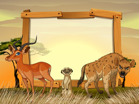 Frame design with wild animals in the field illustration