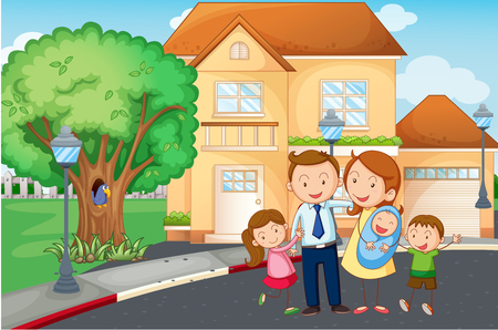 family outside house: Family living at home illustration
