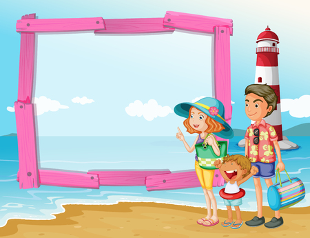 family trip: Frame design with family trip on the beach illustration