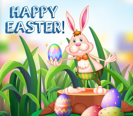 festive occasions: Easter bunny and decorated eggs in the garden illustration Illustration