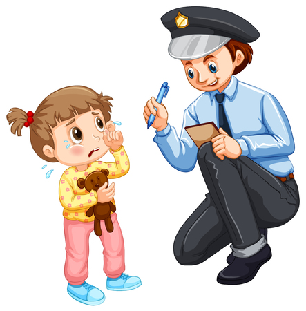 fille qui pleure: enregistrement de la police a perdu l'enfant illustration Illustration