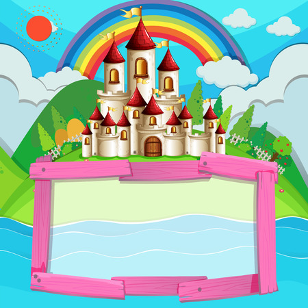 fantacy: Frame design with castle and rainbow illustration