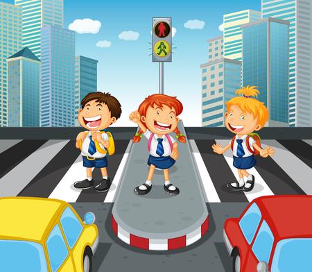 zebra crossing: Children crossing the road on zebra crossing illustration