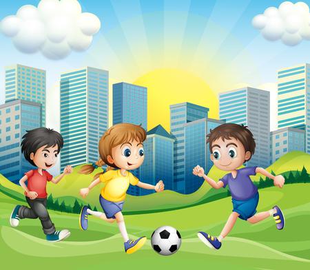 patada: Niños jugando al fútbol en el parque de la ilustración