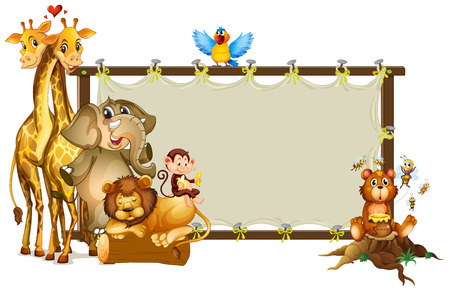 wild animal: Frame design with wild animals illustration Illustration