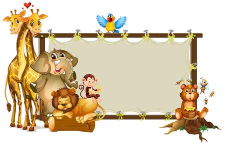 animal border: Frame design with wild animals illustration Illustration