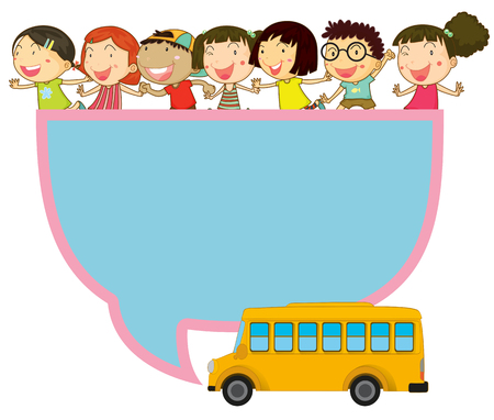 note board: Frame design with children and school bus illustration