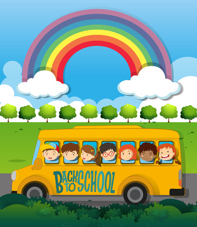 children art: Children riding on school bus illustration Illustration