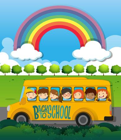 niños en la escuela: Los niños que viajan en la ilustración del autobús escolar Vectores