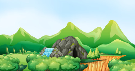 cliffs: Nature scene with waterfall and cave illustration