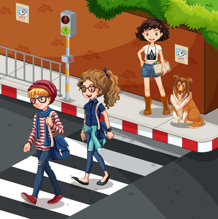 traffic light: People crossing the road  illustration Illustration