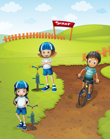 children art: Three kids riding bicycle in the track illustration