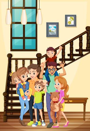 relatives: Family members living in the house illustration