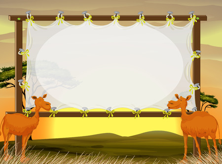 camels: Frame design with two camels in the field illustration
