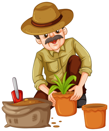 planting: Man planting plant in the pot illustration Illustration