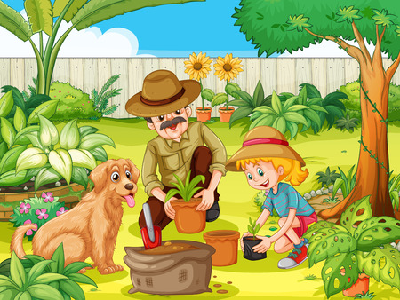 gardening: Father and daughter planting tree in garden illustration