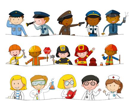 Diferentes tipos de ocupaciones ilustración