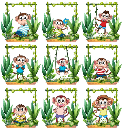 young leaves: Monkeys in the wooden frame illustration