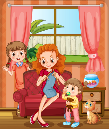 family living room: Mother and kids in the living room illustration