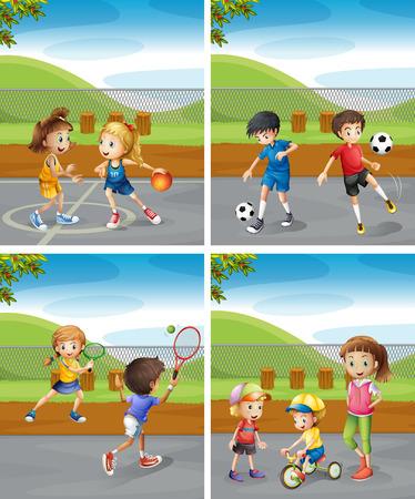 公園の図にさまざまなスポーツを遊んでいる子供たち