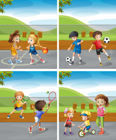 Children playing different sports in the park illustration Reklamní fotografie - 53963209