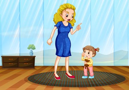 Moeder die haar kind een les illustratie