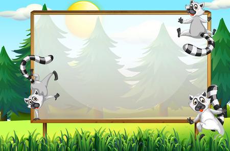 animales silvestres: diseño del chasis con lémures en el parque de la ilustración