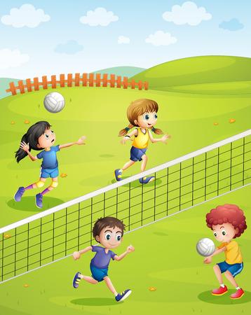 chicos: Los niños y niñas jugando voleibol en la ilustración parque Vectores