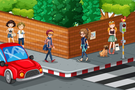 People walking on the pavement illustration