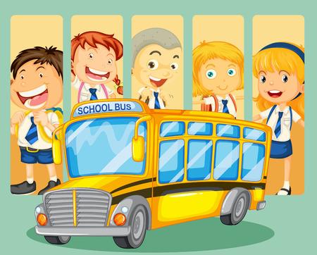 Studenci i autobusem szkolnym ilustracji