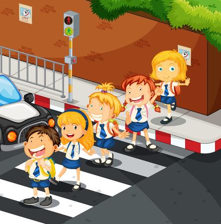 Los estudiantes que cruzan la ilustración de la carretera