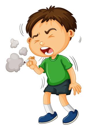 smoking cigarette: Boy smoking cigarette alone illustration Illustration