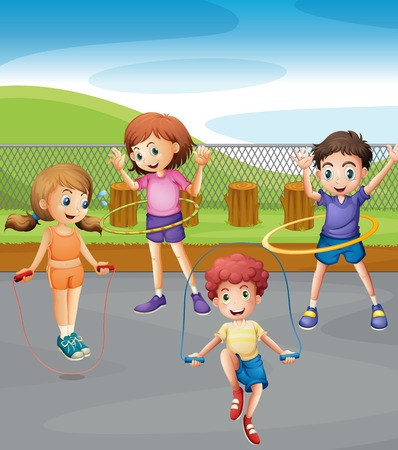 healthy kid: Boys and girls exercising in the park illustration Illustration